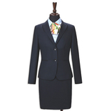 Wool blend Anti-static Herringbone Pattern Two Piece Office Women Shirt Suits