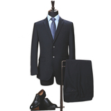 Wool Mens suitTwo-Piece Classic Fit Office 2 Button Suit Jacket & Pleated Pants Set