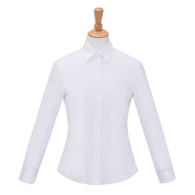 Easy care non-ironing white women blouse dress shirt by garment-dipping technique