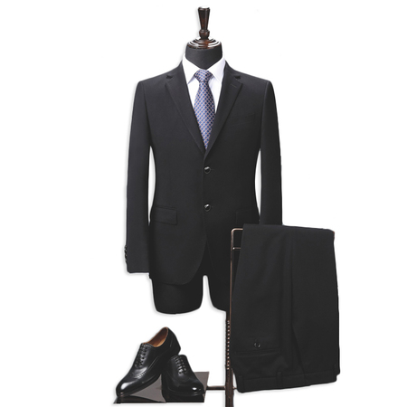Wool-like Men's Two-Piece Classic Fit Office 2 Button Suit Jacket & Pleated Pants Set