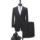 Wool Blend Anti-Static Two-Piece Classic Fit Office 2 Button Suit Jacket & Pleated Pants Set Wool su